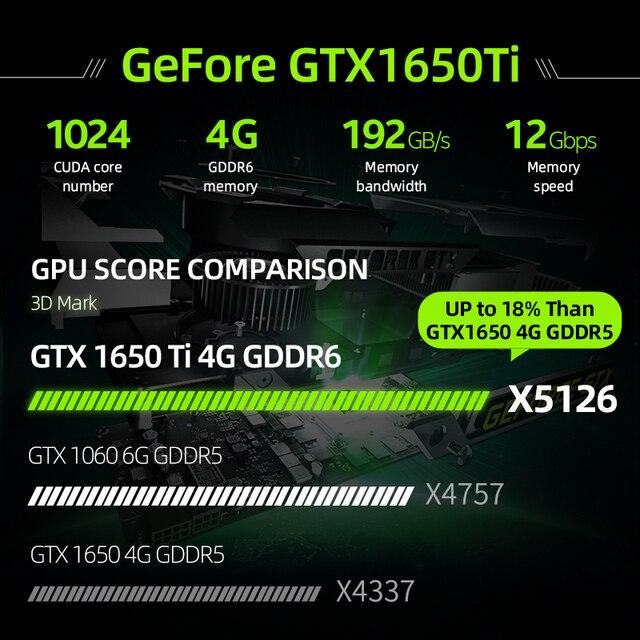 Machenike T58-VB i7 Gaming Laptop i7 10750H GTX 1650Ti 8GB RAM 512G SSD 15.6'' Ultra border IPS i7 notebook Metal A shell 4