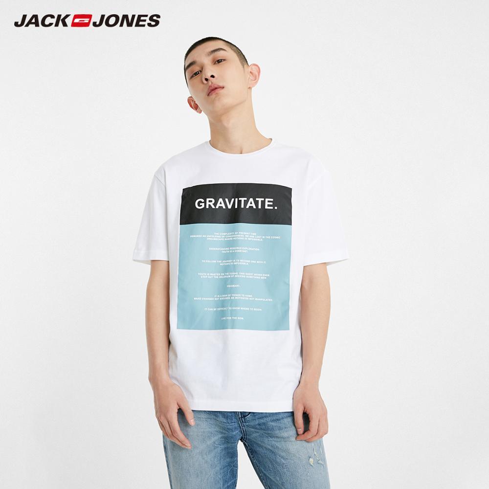 JackJones Men's Spring New Arrival 100% Cotton Letter Print Pattern Short-sleeved T-shirt Style| 219101572