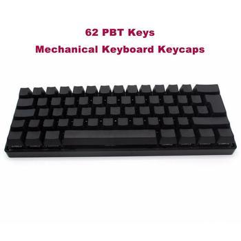 Thick PBT 62 Keys Mechanical Keyboard Keycaps White Black Blank Printed OEM Profile ISO Key Caps For Gaming Keyboad