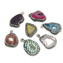 New Irregular Natural Crystal Pendants Necklace Fashion Big Hole Stone for Jewelry Making Supplie 24x32/27x35mm