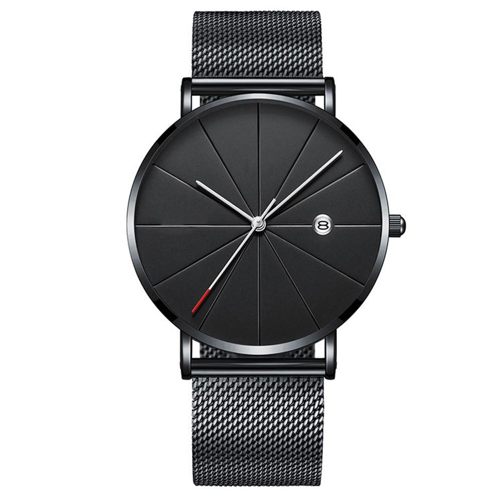 Minimalist Round Ultra Thin Wrist Gifts Calendar Casual Business Slim Steel Strap Men Watch Adult Quartz Fashion