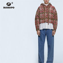 ROHOPO Hooded Collar Beading Pearl Tweed Knitetd Sweatshirt Autumn Ladies Chic Retro Plaid Thick Winter Red Hoodies #9732(China)