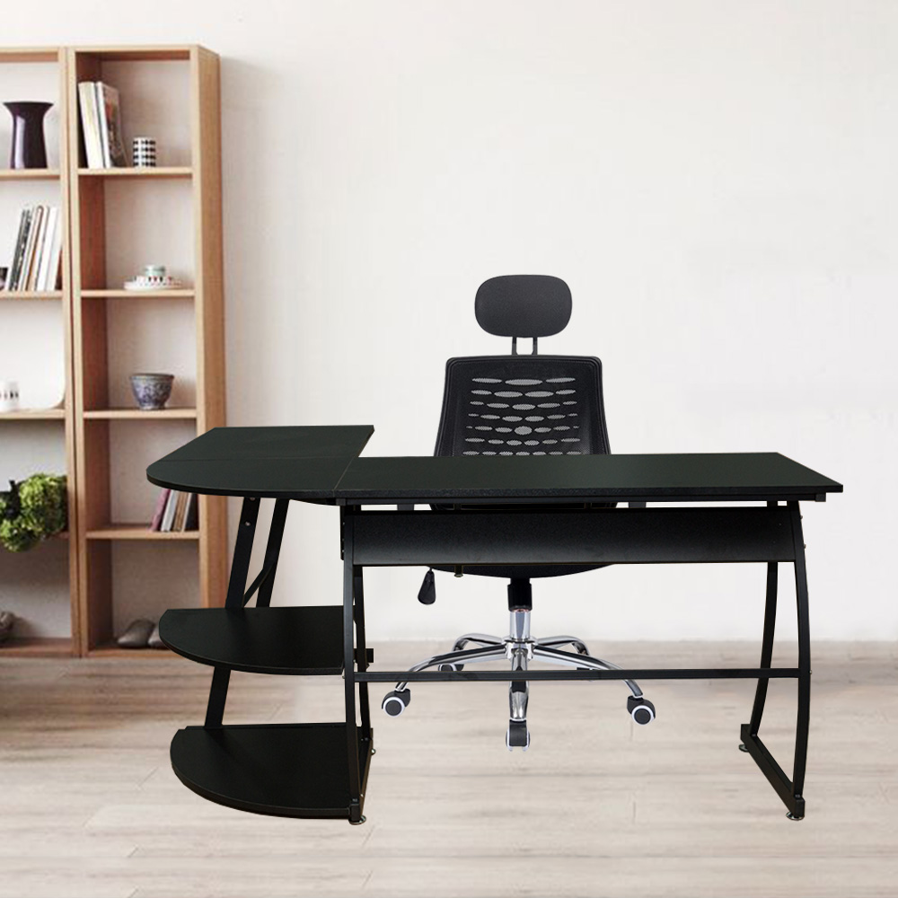 Home And Office L-Shaped Computer Desk Corner Desk Work Station With 2 Storage Layers