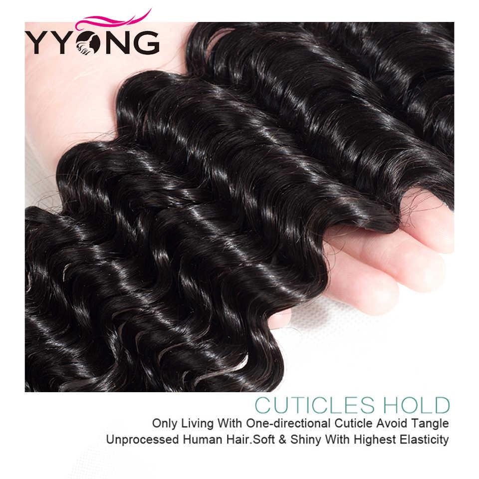 Yyong productos para el cabello Malasia onda profunda 3/4 paquetes de cabello humano Remy tejido de 8-30 pulgadas de cabello Malayo paquetes de armadura de Oferta