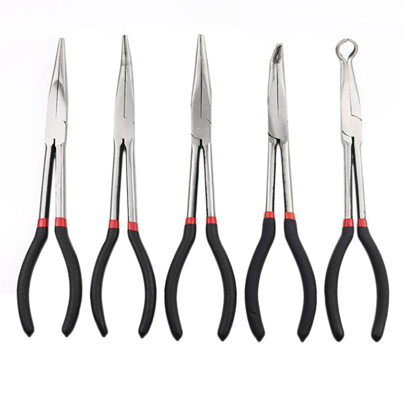 5-Piece Set Of Multi-Function Stainless Steel 11-Inch Long Needle-Nosed Pliers Curved Nose Pliers Round Nose Pliers Auto Repair