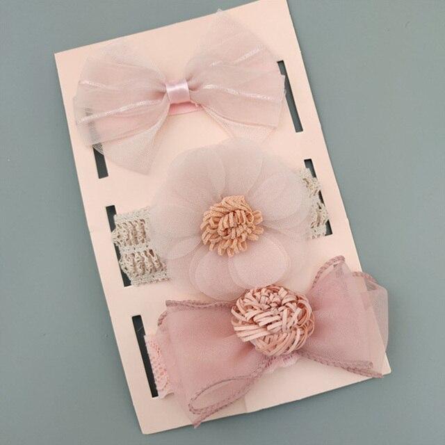 3 sztuk/zestaw Flower Baby Girl pałąk łuki korona noworodka maluch Turban opaski do włosów opaski dla dziewczynek dzieci akcesoria do włosów dla dzieci