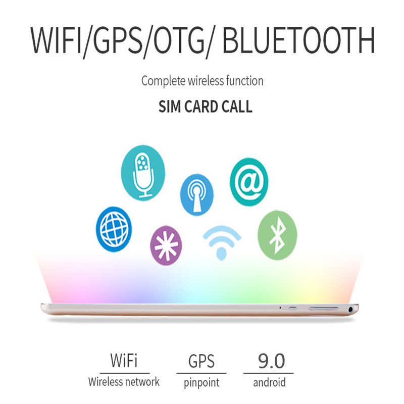 10.1 pouces 2.5D écran 3G 4G LTE double carte SIM tablette Octa Core 8GB RAM 128GB ROM Android 9.0 tablettes Wifi GPS FM - 3