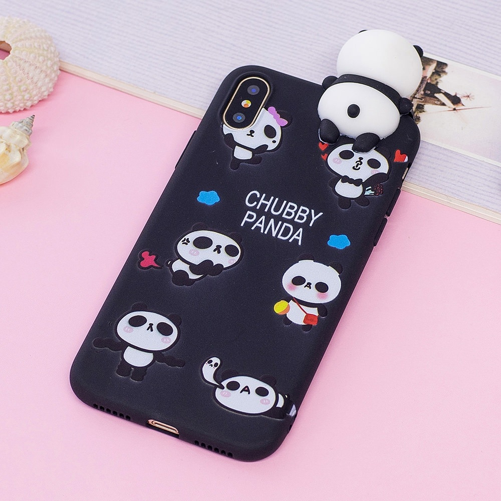 3D Cartoon Panda Case for IPhone SE 2020 Slim Shockproof Cover for IPhone 11 Pro Max X Xs Xr 7 8 Plus 6 6s 5 5s Silicone Case