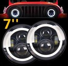 Światło CO 7 cal reflektor LED 50W/30W kąt oczu DRL Amber samochodów światła drogowe Led E9 12V 24V Hi/Lo wiązka dla Lada Niva 4x4 Offroad