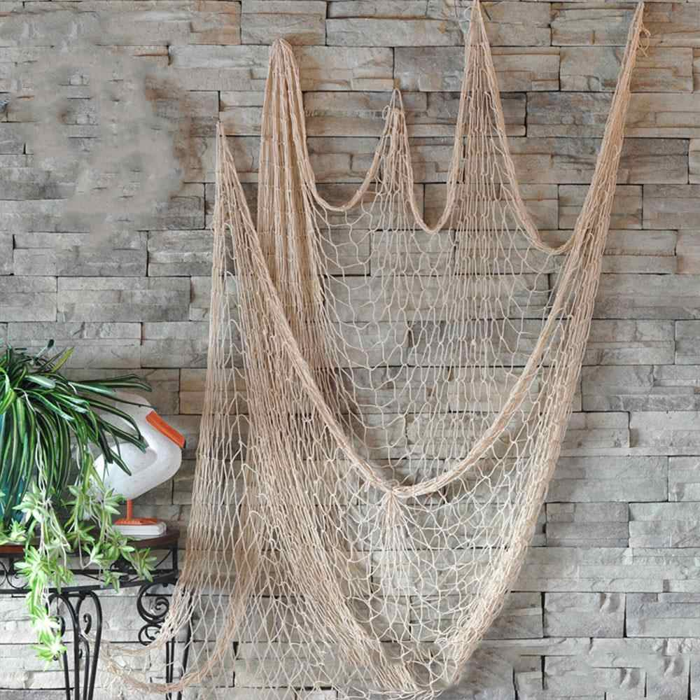 Blue/Beige Decorative Ceative Decorative Fishing Net Nautical Ocean Theme Home Decor Hanging Net Decor Nets Mediterranean Bar