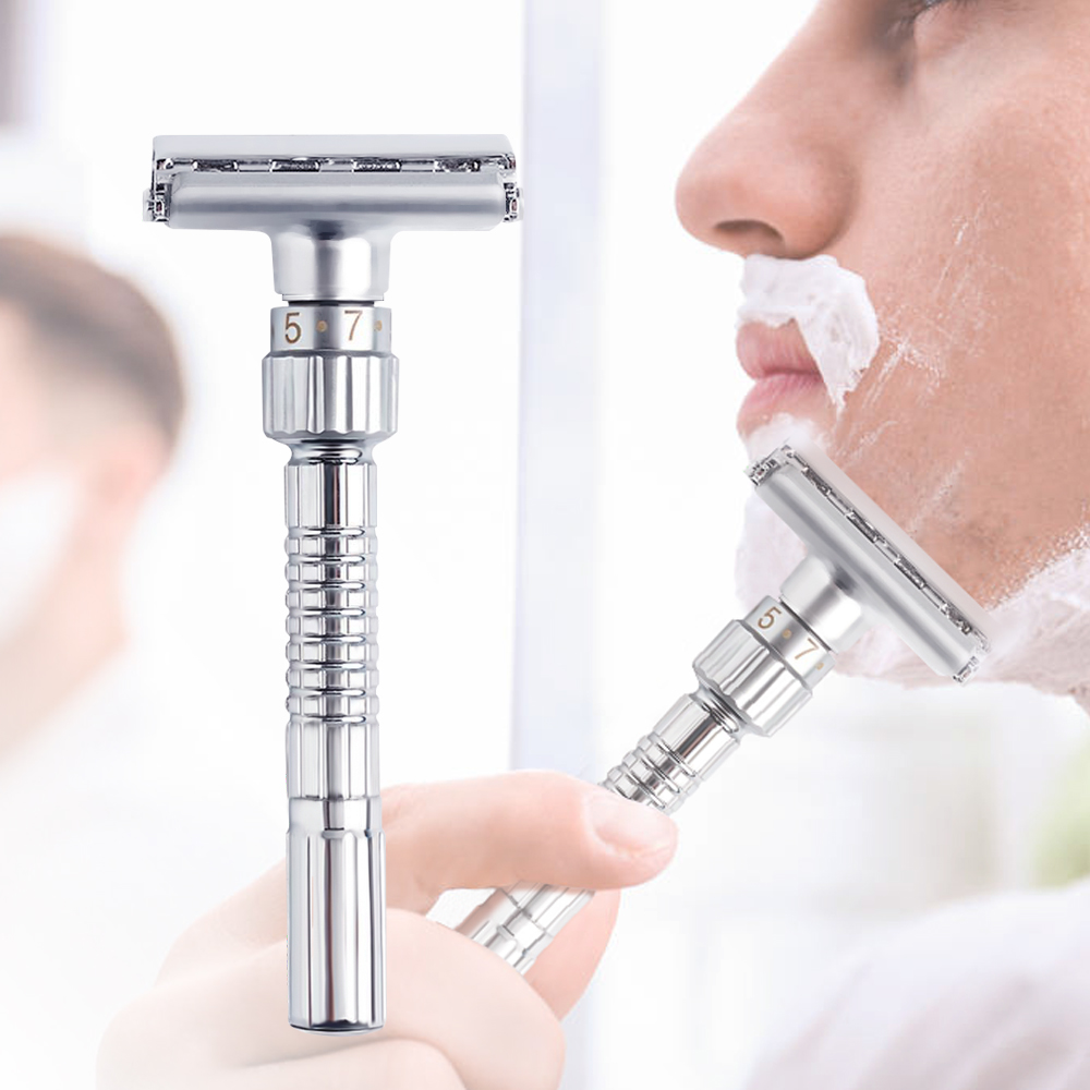 2020 New Mens Adjustable Razors Double Edge Razor Shaving Safety Razor Blades Classic Shaver 1 Handle & 5 Blades 1 Box Fashion