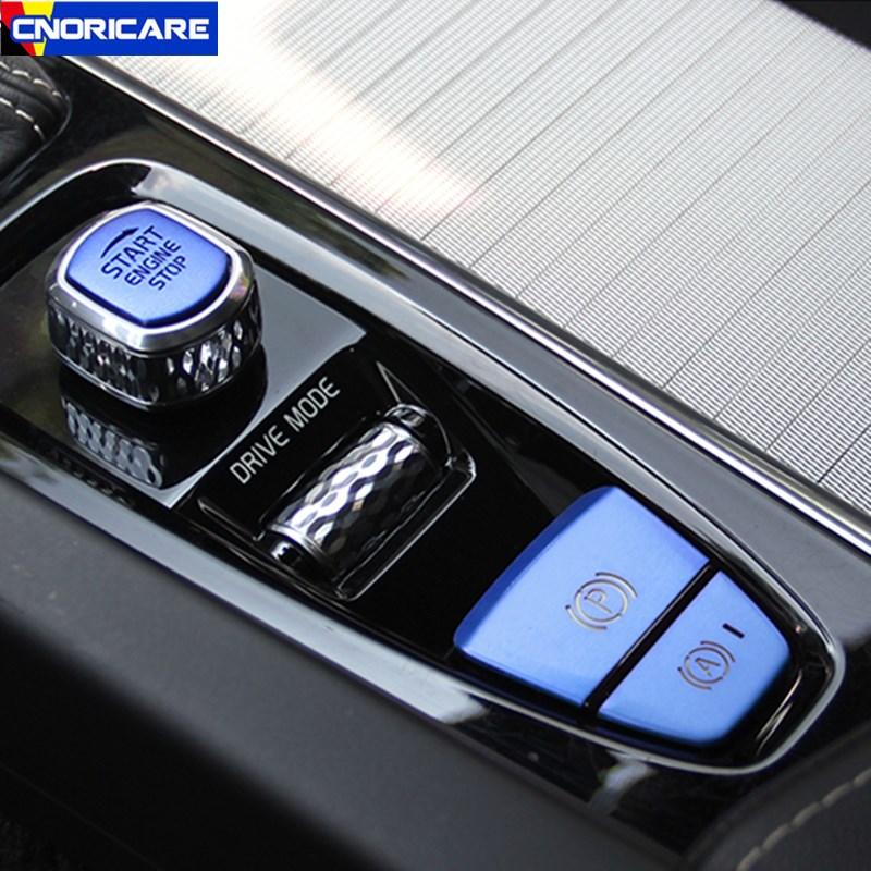 Aluminum Car Styling Start Handbrake Button Sequin Decoration Stickers Trim For Volvo XC60 S60 XC90 S90 V90 Interior Accessories