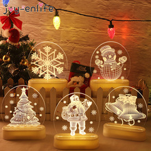 Christmas Santa Claus Acrylic 3D Night Lamp For Kids Bedroom Decor Nightlight Garland Gift Xmas USB Battery Powerd Night Light