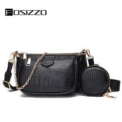 FOSIZZO Crossbody Bag Majong Set PU Fashion Crocodile Pattern Tree-piece Chain Wallet Women's Shoulder Bag Majong Bag FS5105