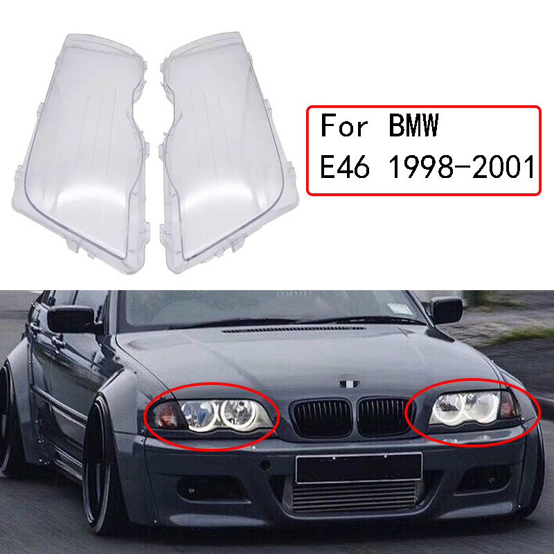 1 par de cubierta de faro para coche, cubierta impermeable brillante para BMW E46 3 Series 1998-2001, cubierta de lente transparente para lámpara