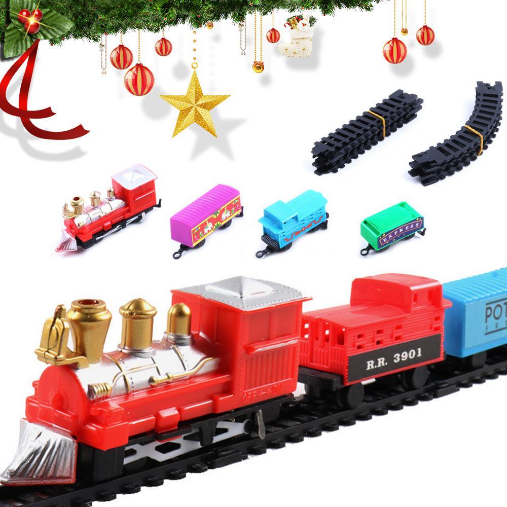 Mini Christmas Electric Track Train Classic Rail Car Compartment Toys For Kids Children Gifts 142m Perimeter