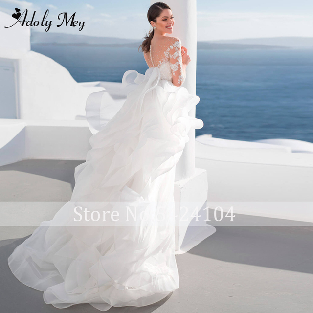 Adoly Mey Luxury Scoop Neck Beading Illusion Back A-Line Wedding Dress 2021 Ruched Tulle Long Sleeve Appliques Boho Wedding Gown 2