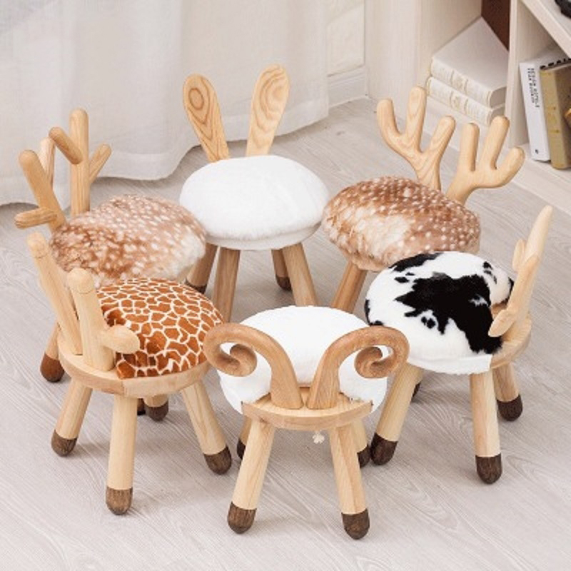 JOYLIVE Nordic Creative Ins Children's Solid Wood Stool Kindergarten Table and Chair Stool Baby Chair School Desk and Chair 2021