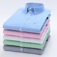 2020 New Spring Autumn Oxford Mens shirts long sleeve Cotton casual shirt 1