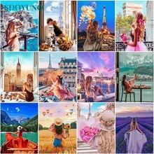 SDOYUNO – peinture à l'huile par numéros, 60x75cm, paysage par numéros, toile, Figure numérique, peinture à la main, décor de maison