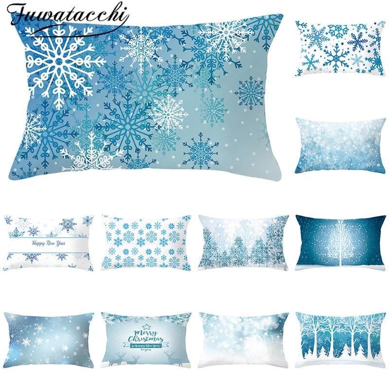 Fuwatacchi Neve Impresso Lance Capa de Almofada de Natal Decorativas Fronhas Throw Pillow Covers para Sofá Acessórios 30x50cm