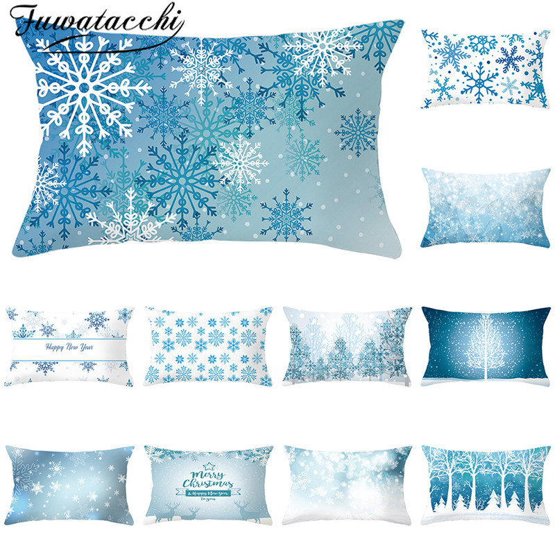 Fuwatacchi Christmas Cushion Cover Snow Printed Throw Pillowcases Decoratives Pillow Covers for Sofa Accessories 30x50cm