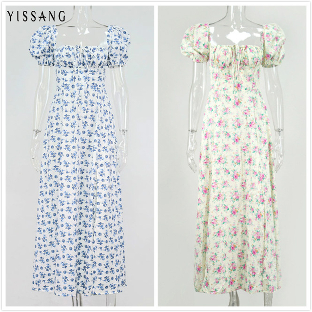 Yissang Floral Print Puff Short Sleeve Women Dress High Split Party Long Dresses Elegant Lace Up Sweet Summer Club Sexy Dress 5