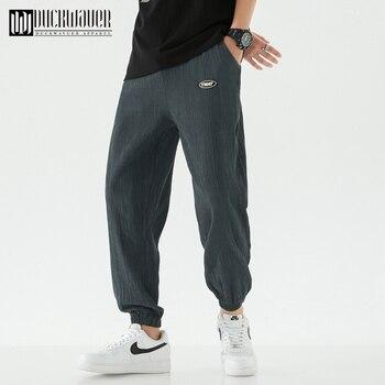Duckwaver New Solid Color Casual Ankle-Length Pants Quality Brand Men Fashion Drawstring Elastic Waist Pants Pencil Pants Male 1