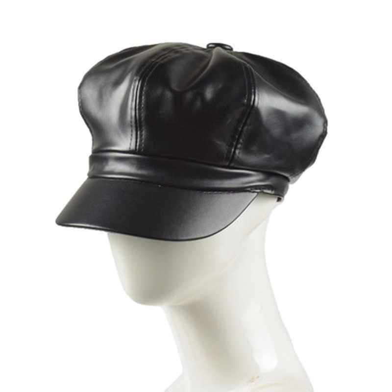 الجلود موزع الصحف كاب جودة الأزياء الفنان بو الجلود الإناث الكورية مثمنة كاب الربيع الشتاء عارضة قبعة المرأة قبعات مسطحة