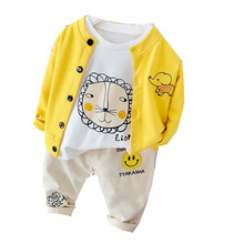 Spring Autumn Children Casual Clothes Baby Boys Girls Cartoon Letter Jacket T Shirt Pants 3Pcs/sets Kid Infant Fashion Tracksuit kid clothes sets children winter autumn tracksuit thick jacket hoodie pants for boys girls warm suit set in stock