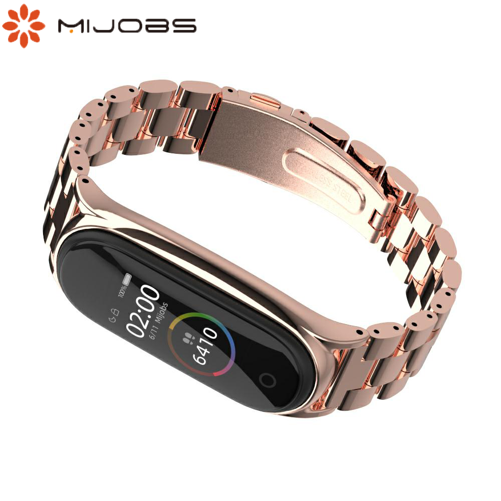 For Xiaomi Mi Band 4 Strap Stainless Steel Metal Wristband Mi Band 3 Wristband Miband Band 4 Bracelet Replaceable Strap