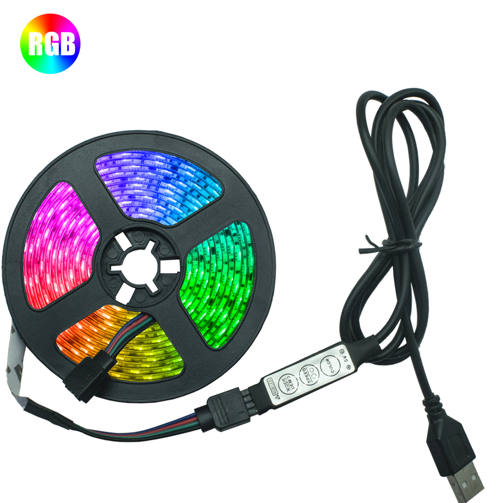 LED Strip Light RGB 2835 Flexible Lamp Tape Diode USB Cable 3 Key Control DC5V 1M 2M 3M 4M 5M Desk Screen TV Background Lighting