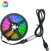 Tira de luces LED RGB 2835, cinta Flexible de diodo, Cable USB, 3 teclas de Control, DC5V, 1M, 2M, 3M, 4M, 5M, iluminación de fondo de TV de pantalla de escritorio