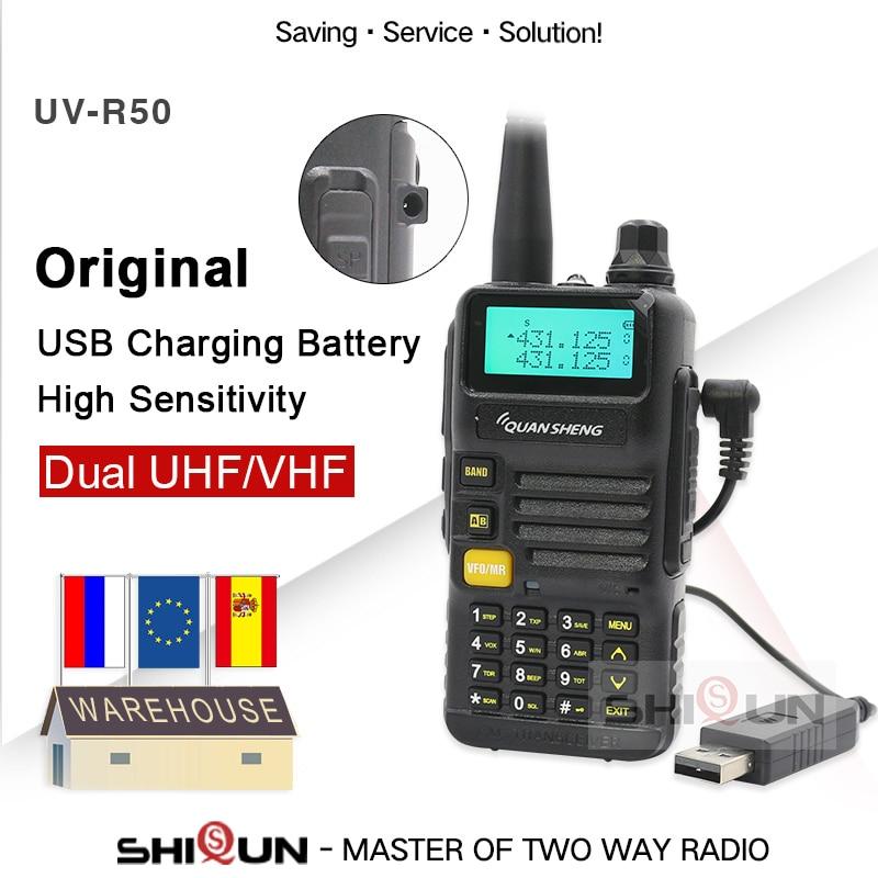 USB Charger Battery Version Quansheng UV-R50-2 Walkie Talkie Vhf Uhf Dual Band Radio UV-R50-1 UV R50 Series Uv-5r Tg-uv2 UVR50