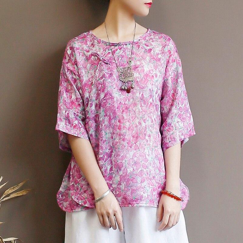 High end puro ramie casaco feminino verão cor fina pura cânhamo camisa meia manga solta retro chinês disco fivela