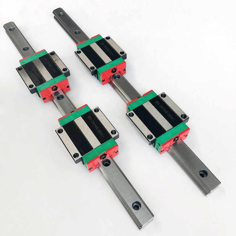 2 قطعة 15 مللي متر HGR15 350 400 450 500 550 600 650 مللي متر خطي السكك الحديدية Cnc أجزاء و 4 قطعة HGH15CA أو HGW15CC الخطي حواجز توجيهية كتلة
