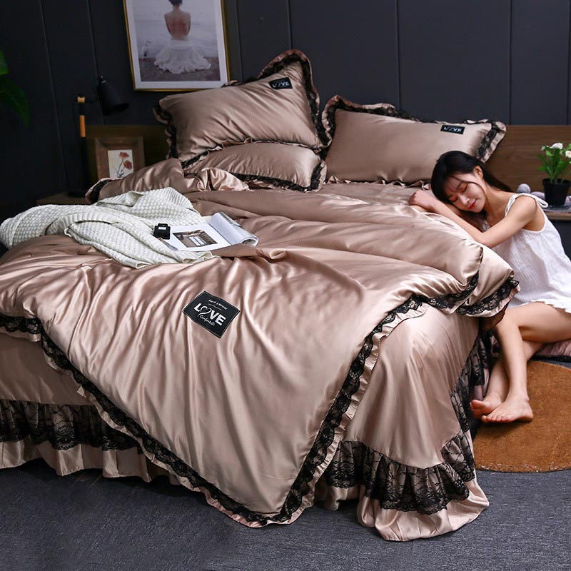 3pcs Lace Bedding Set Luxury Wash Silk Duvet Cover For Bedroom Soft Quilt Cover And Pillowcase Nordic Bed Linens Sets For Home 3