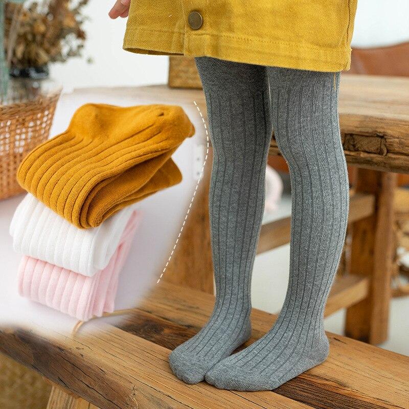 Колготки для девочек от 1 до 6 лет, осенне-зимние детские колготки, Хлопковые вязаные белые черные брюки для детей, леггинсы для девочек