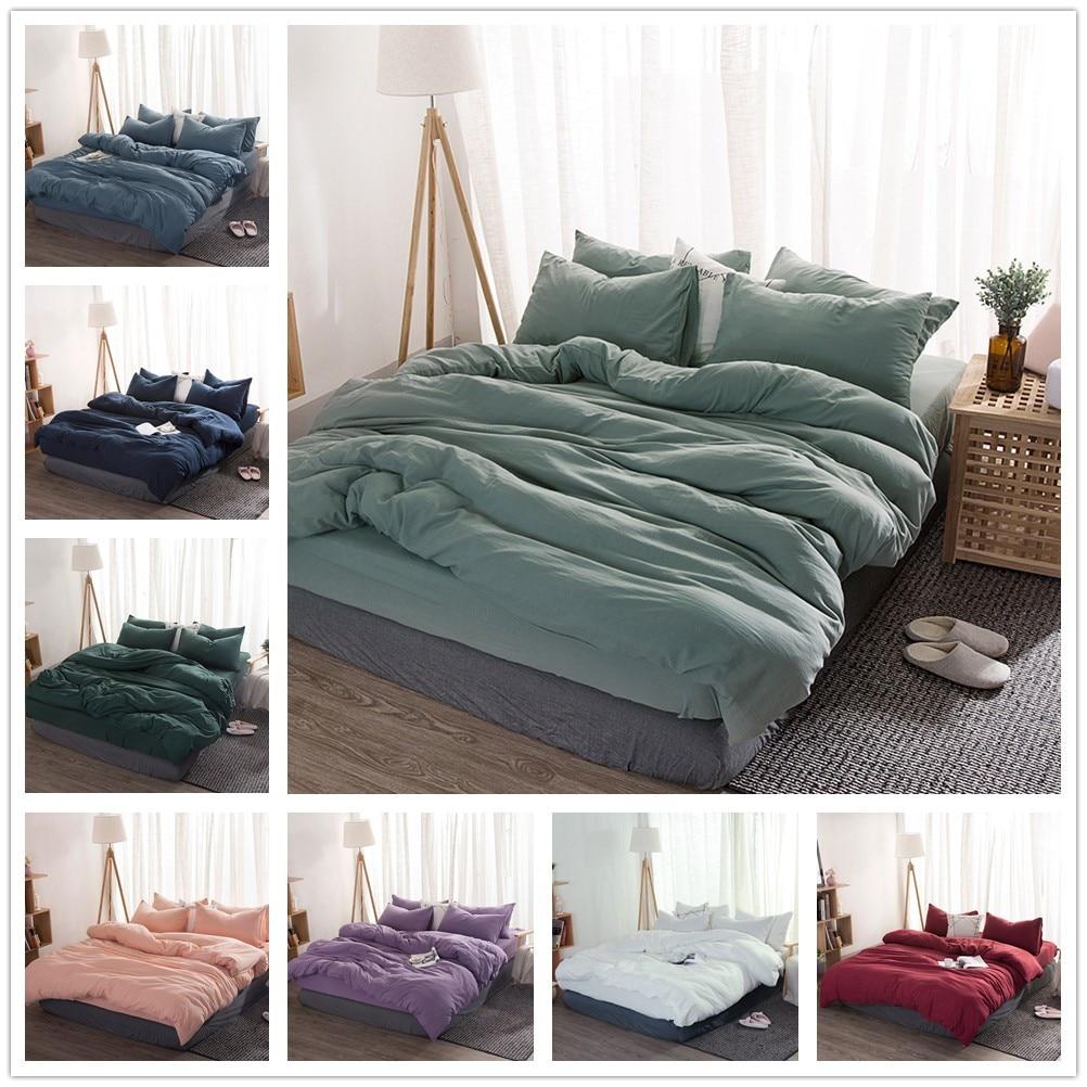 Solid Color 3/4 Pcs Bedding Set Microfiber Bedclothes Navy Blue Gray Bed Linens Duvet Cover Set Bed Sheet King Queen Size