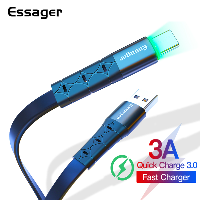 Essager USB Type C Cable For Samsung S20 Xiaomi Redmi Note 8 3A Fast Charging LED Type-C Cord USBC Charger Mobile Phone Cable