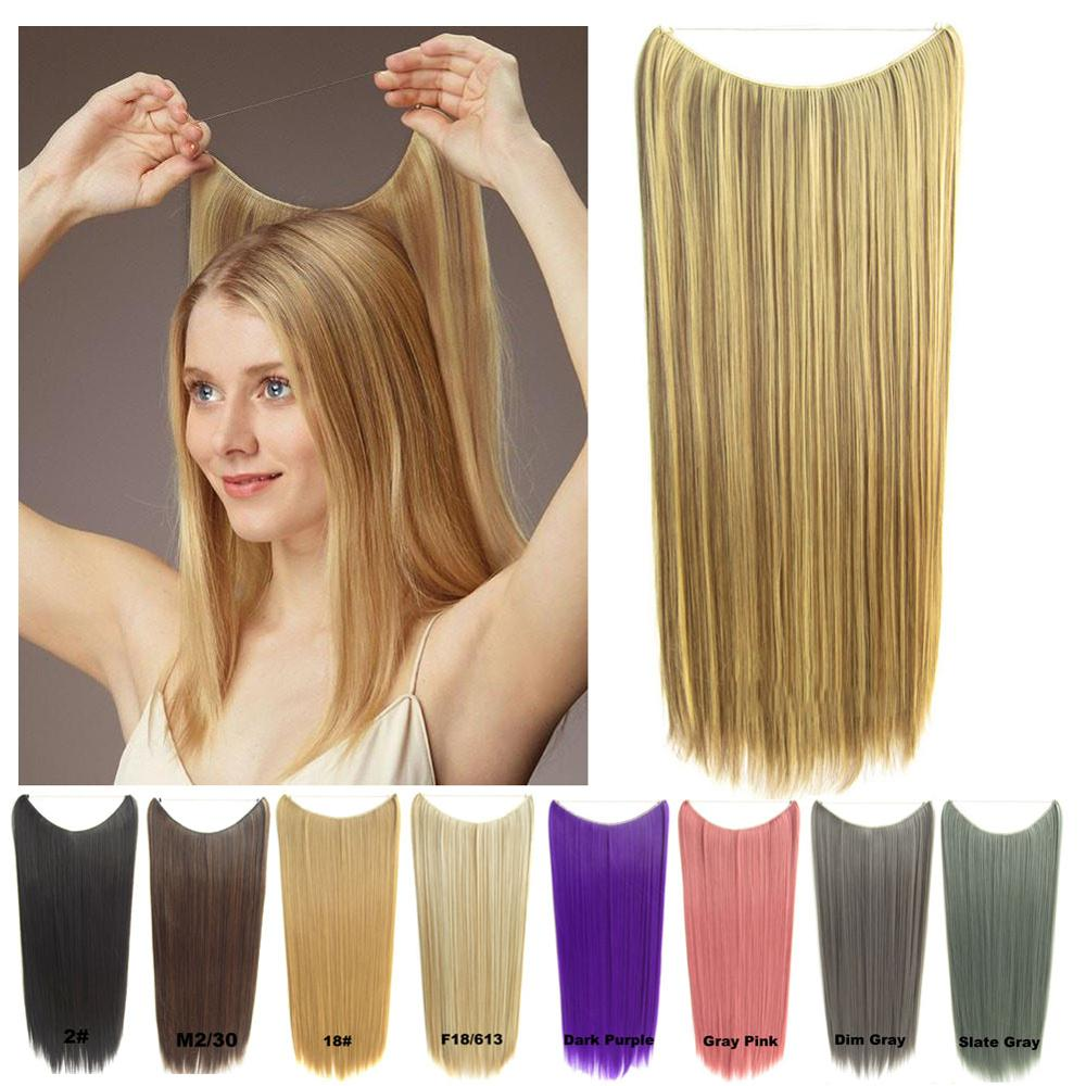 24inch Long Straight Halo Hair Extension No Clip No Glue Secret Miracle Hair Wire Style Synthetic Clip In One Piece Aliexpress