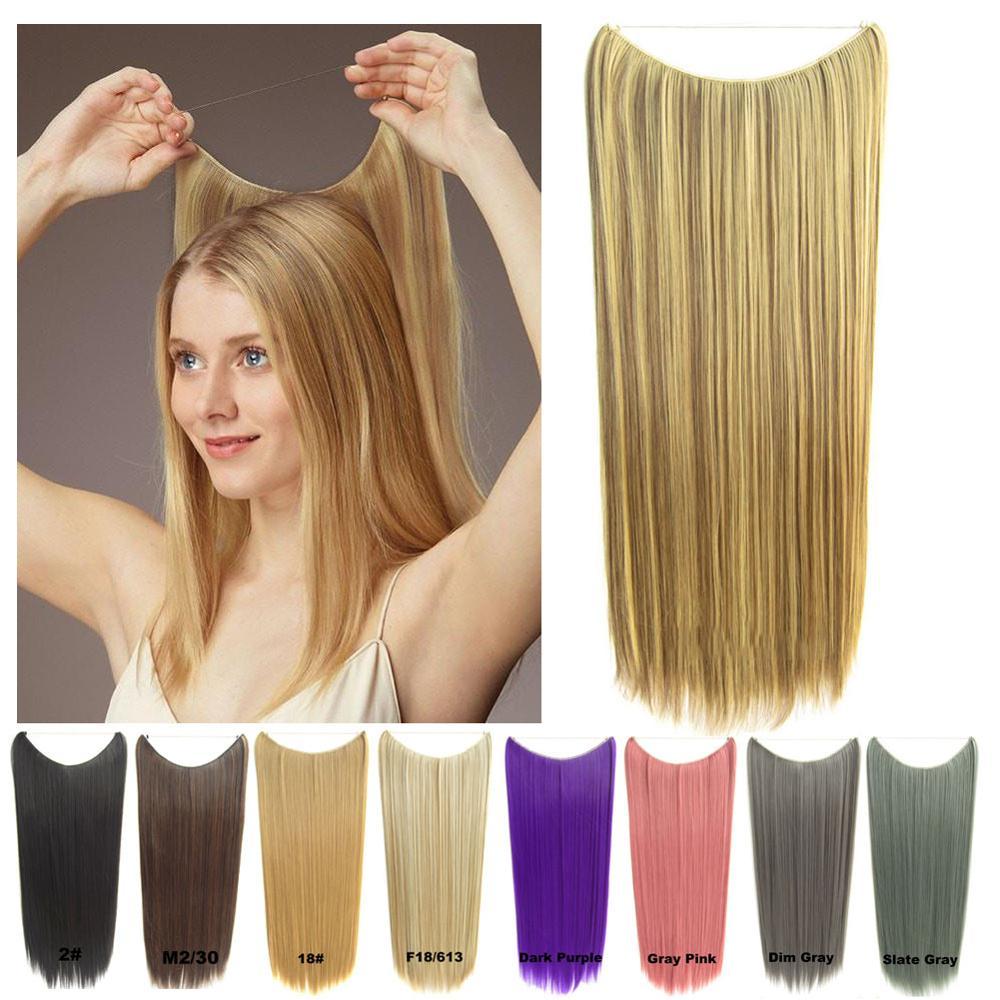 24 дюйма длинные прямые Halo волосы для наращивания без зажима без клея секретные чудо волосы провода стиль