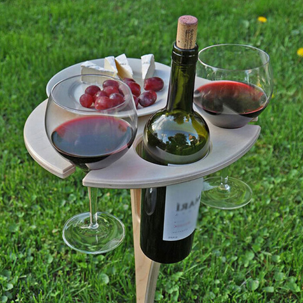 Outdoor Portable Foldable Wine Table With Round Desktop Mini Wooden Easy To Carry Rack PicnicParty Travel Tools Dropshipping