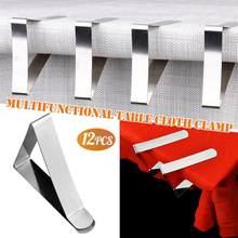 12pçs grampos de toalha de mesa, grampos de toalha de aço inoxidável para suporte de mesa de promenade de casamento/placa redonda clipes estáveis