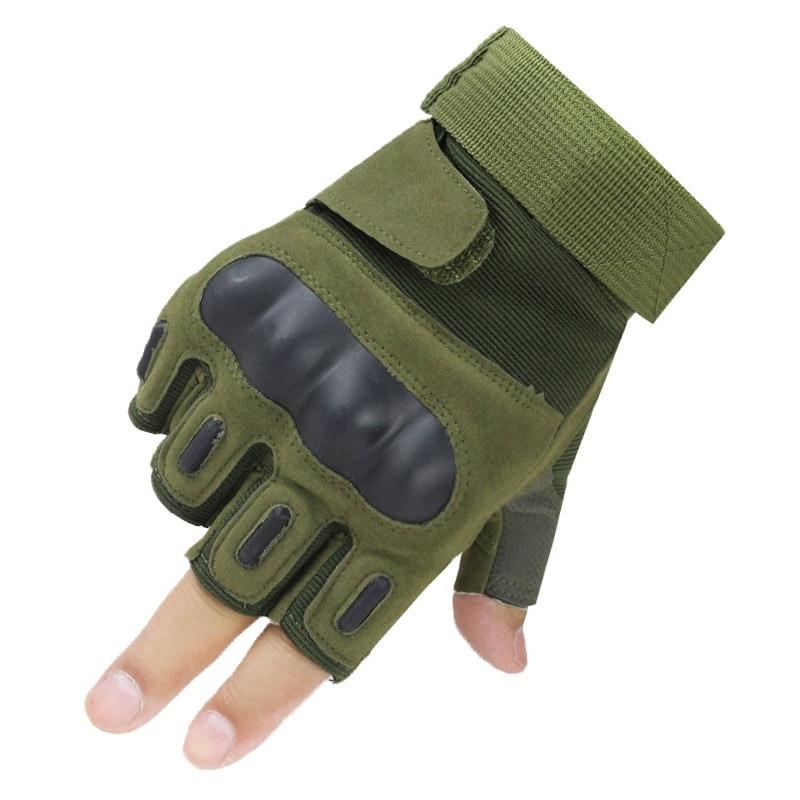 Men Fingerless Outdoor Tactical Assault Gloves Half Fingers Hard Knuckle Gloves