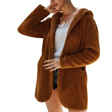 New Women Solid Color Plush Hooded Cardigan Coat Autumn Casual Loose Warm Sweater Coat Women Pocket Long-sleeved Outwear Tops women long sweater cardigan 2017 female autumn korean loose hooded coarse wool coat jacket pocket thickened knitted outwear 1kg