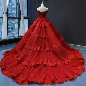 Image 2 - Customize Ball Gown Puffy Ruffle Tulle Lace Appliques Luxury Long Wedding Dress Wedding Gowns 2020 Mariage Bride Dress FR06M