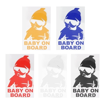 BABY ON BOARD Cool Rear Reflective Sunglasses Child Car Stickers Warning Decals 28GC image