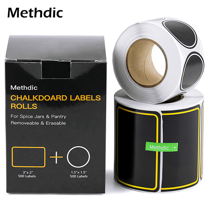 2 Rolls Spice Jar Label Kitchen Waterproof Blackboard Sticker Label