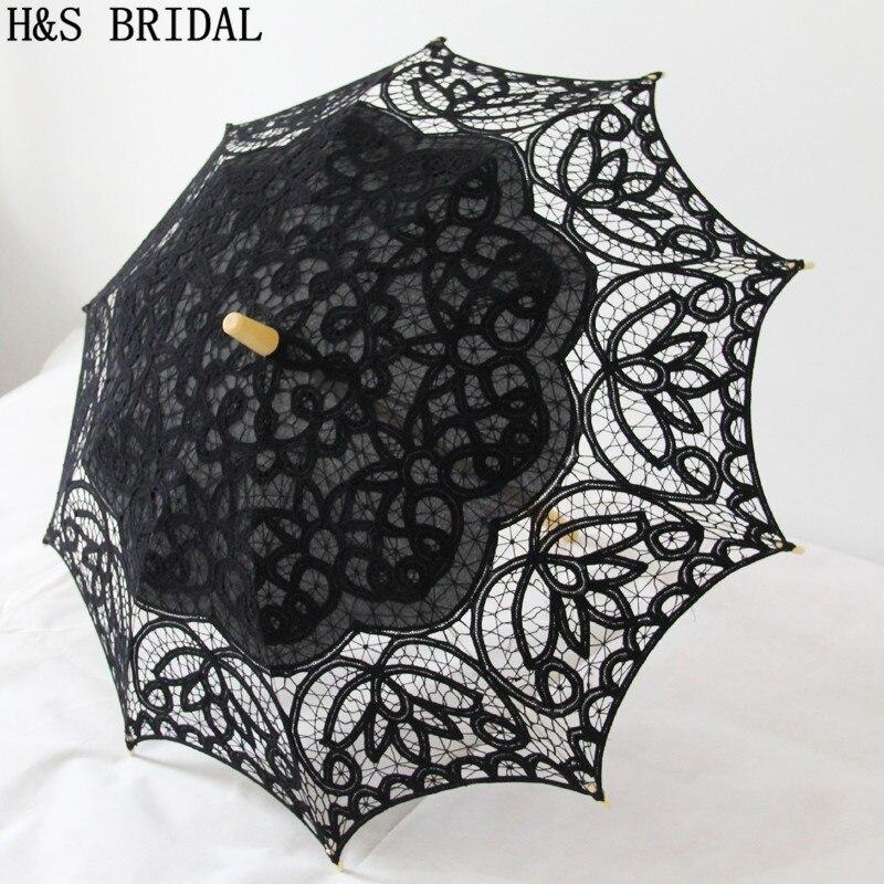 H&S BRIDAL Beige Lace Umbrella Parasol Embroidery Bride Umbrella White Wedding Umbrella Ombrelle Dentelle Parapluie Mariage